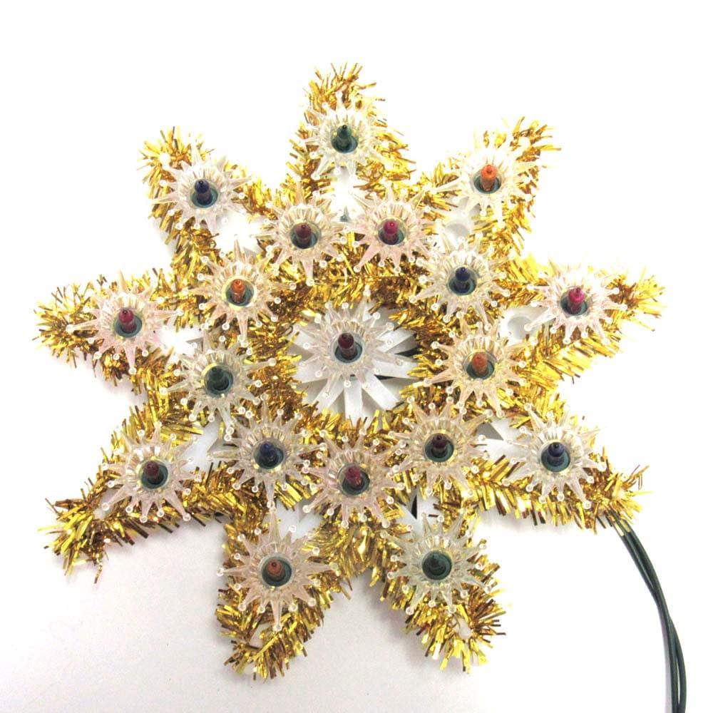 Gold Tinsel Multi 8 Pt Star