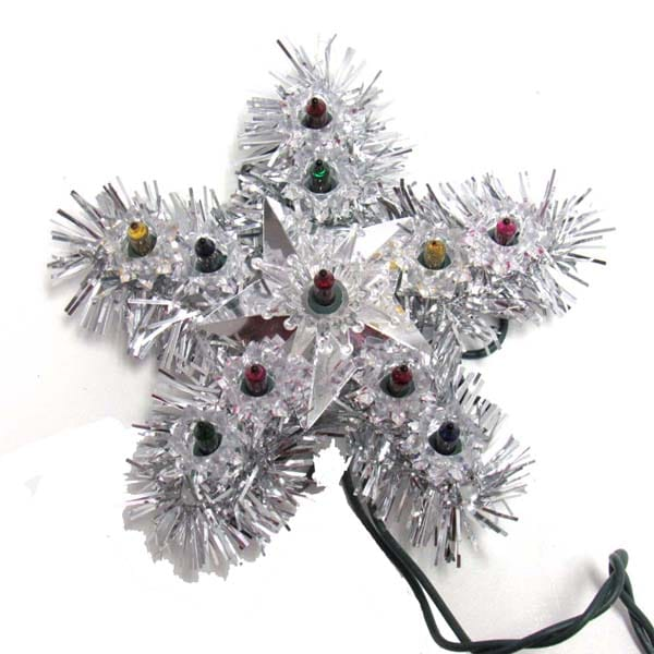 Silver Tinsel Star Tree Topper