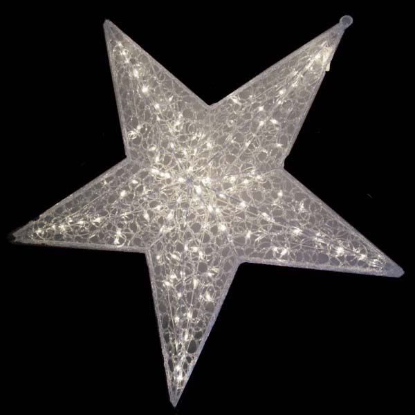 White Spunglass Star Light Decoration