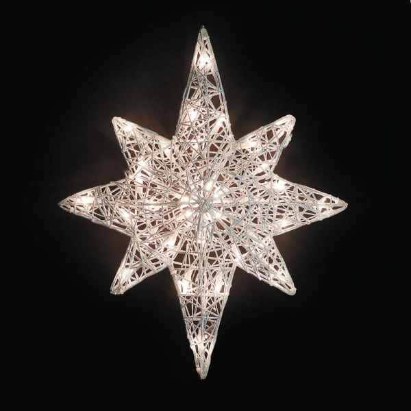 White Spunglass Bethlehem Star Light Decoration