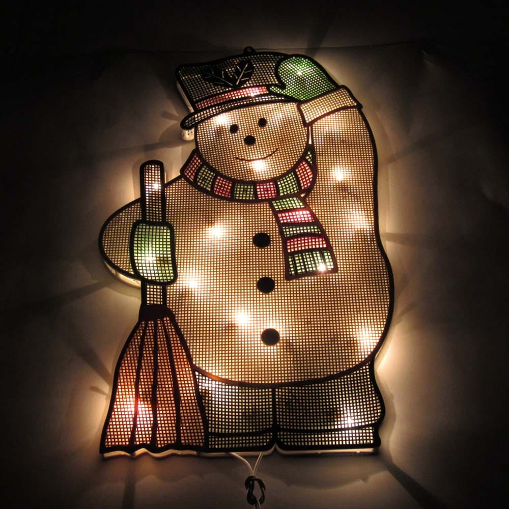 Mesh Snowman Plaque Light