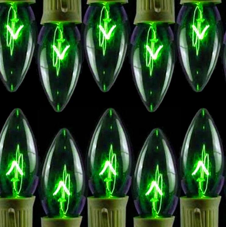 Transparent Green C9 Lights