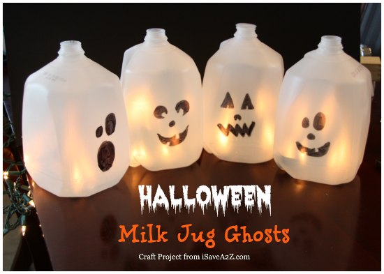 Halloween Milk Jug Ghosts
