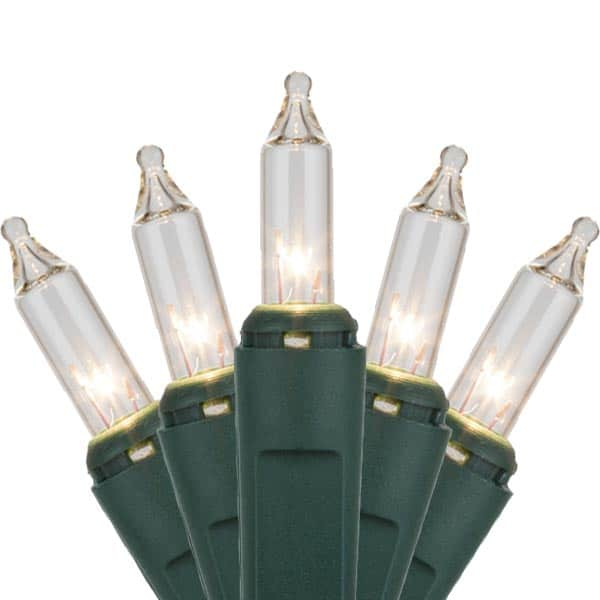 Clear Mini Christmas Lights green Wire