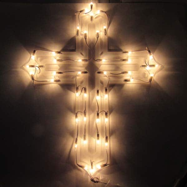 Holy Cross Window Plaque Lights