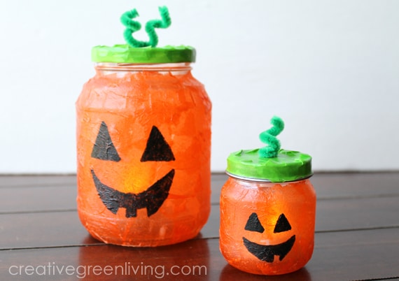 Recycled Jar Pumpkins