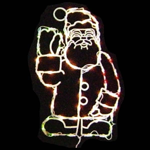 Waving Santa Plaque Light