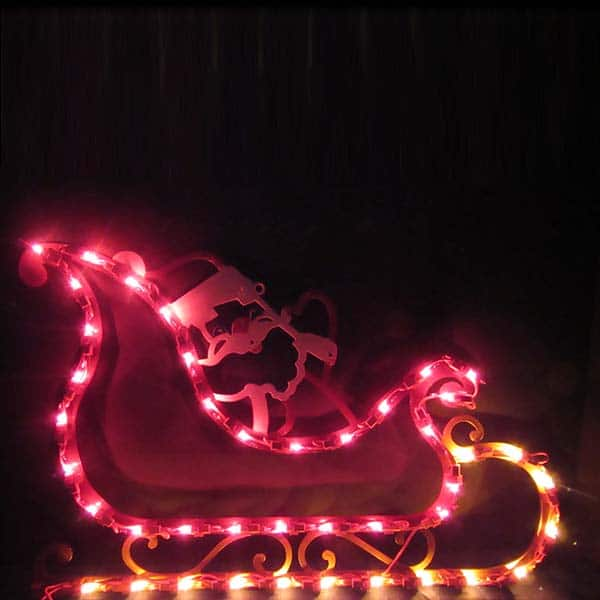 Santa Sleigh Plaque Light