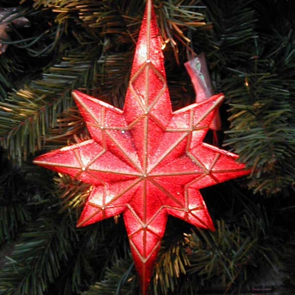 Mosaic Red Bethlehem Star - Mosaic Red Bethlehem Star Tree Topper Northern Lights And Trees