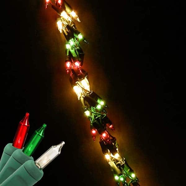 direct chain garland red green clear bulbs green wire