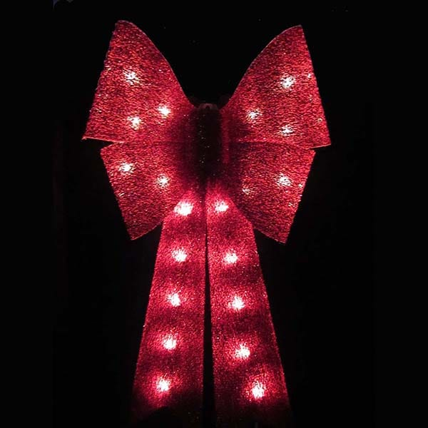 Red Glitter Bow Light Decoration