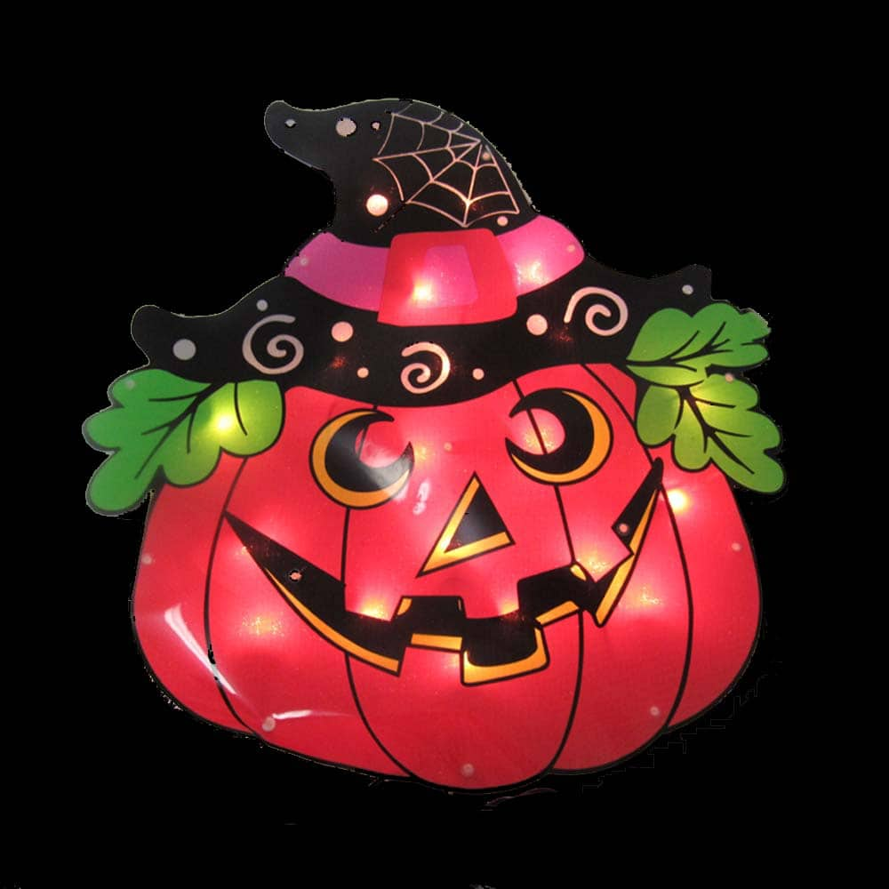 Pumpkin Witch Sign Plaque Lights
