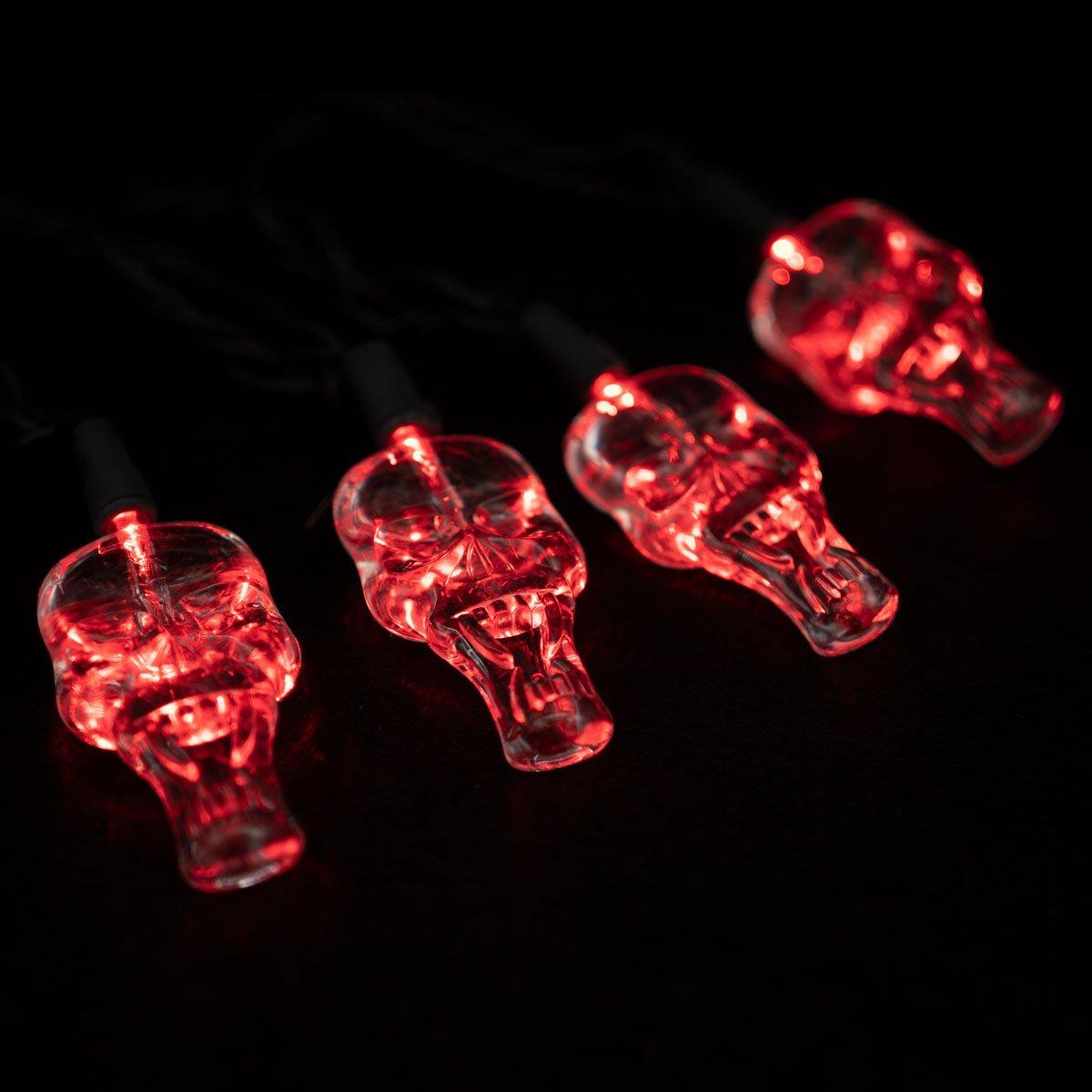 LED Red Skull Lights String Set