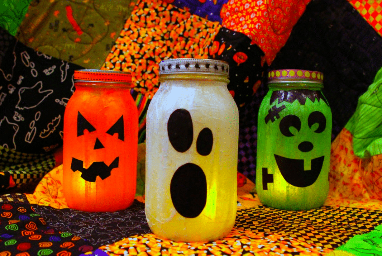 Easy Recycled Halloween Jars