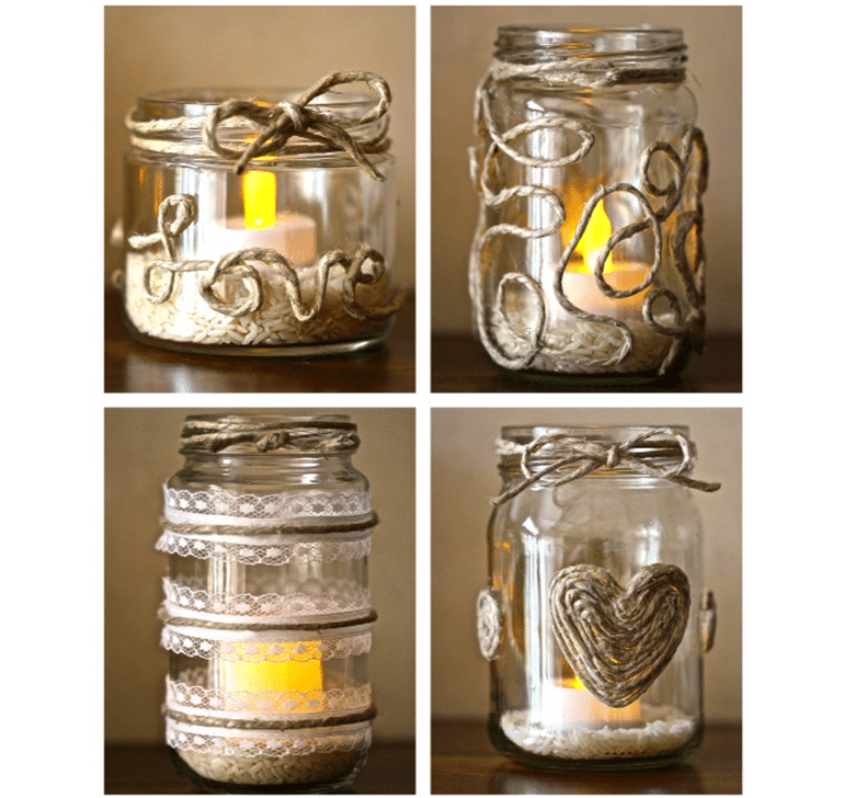 Retro-Chic Twine and Glass Candle Holders