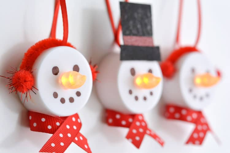 Battery Operated Tea Light Snowman Ornaments