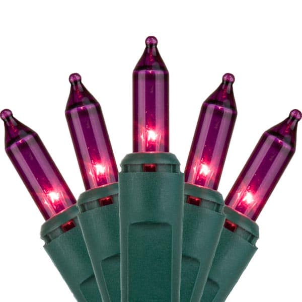 Purple Mini Christmas Lights Green Wire