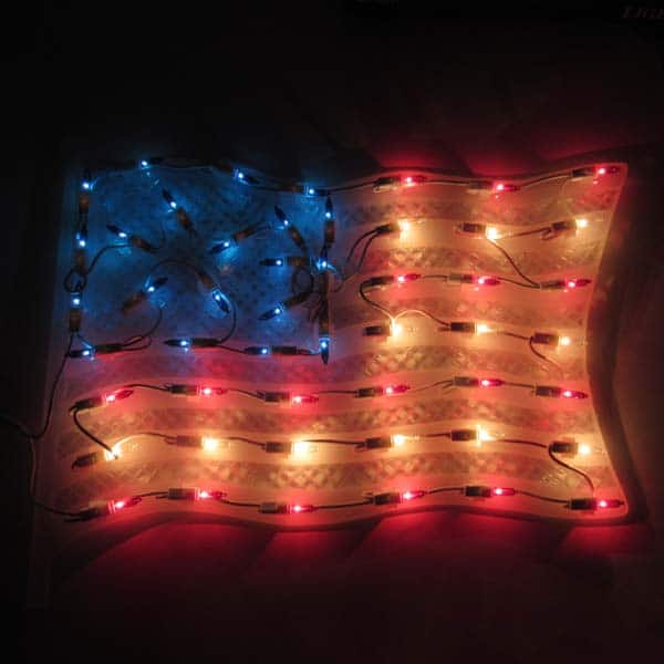American Flag Window Plaque Lights