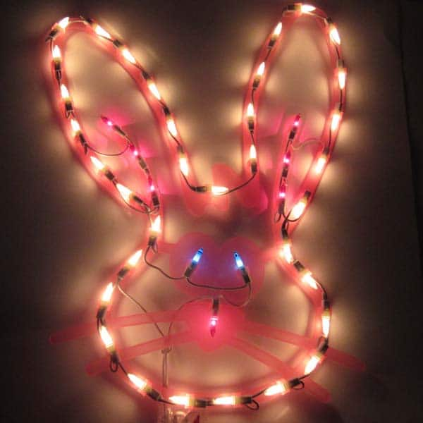 Easter Bunny Window Plaque Lights