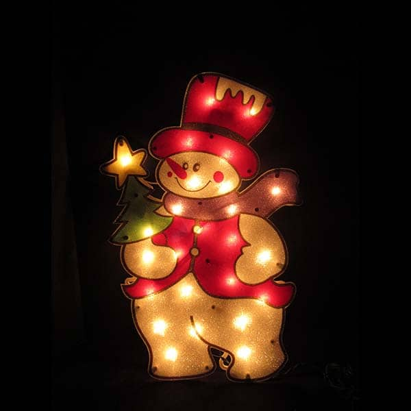 Sugar Coated Snowman Plaque Light