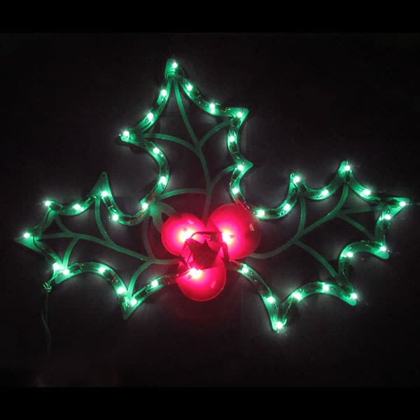 Lighted Holly Plaque Light